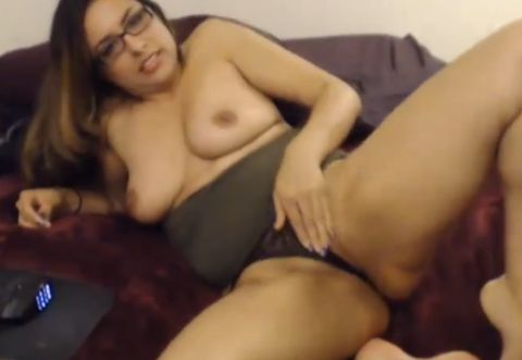 Busty Brunette Danielle Williams Playing With a Big Dildo