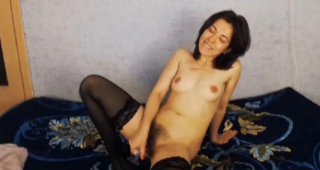 Sunny Hairy Horny Wife Masturbating