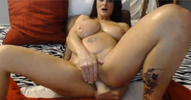 Busty MILF AlluringLeah Riding Big Dildo